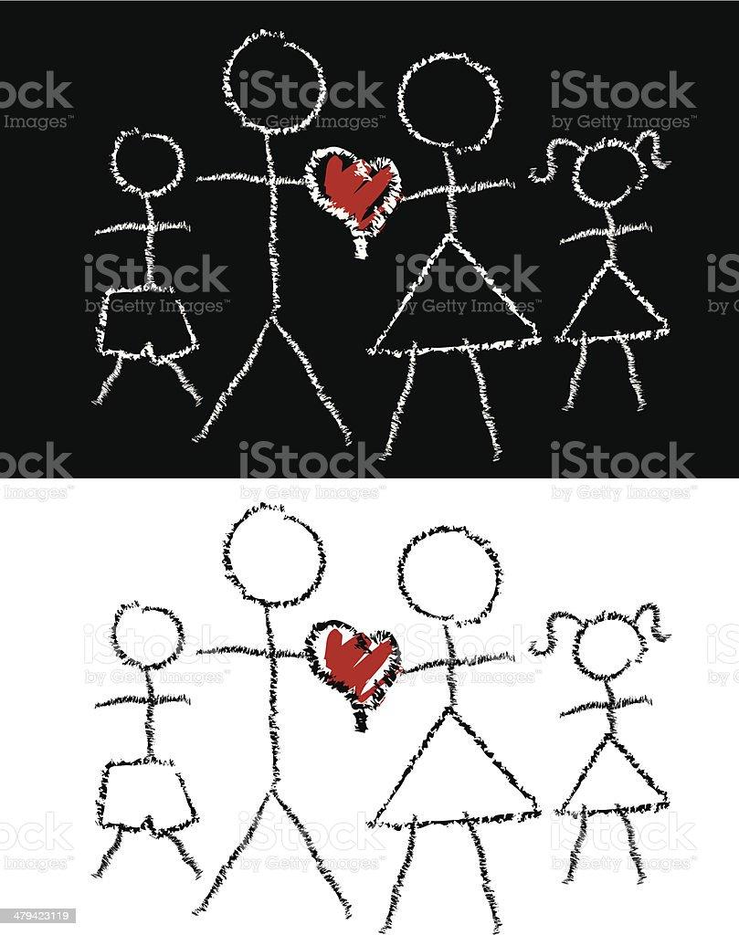 chalk family1 vector art illustration
