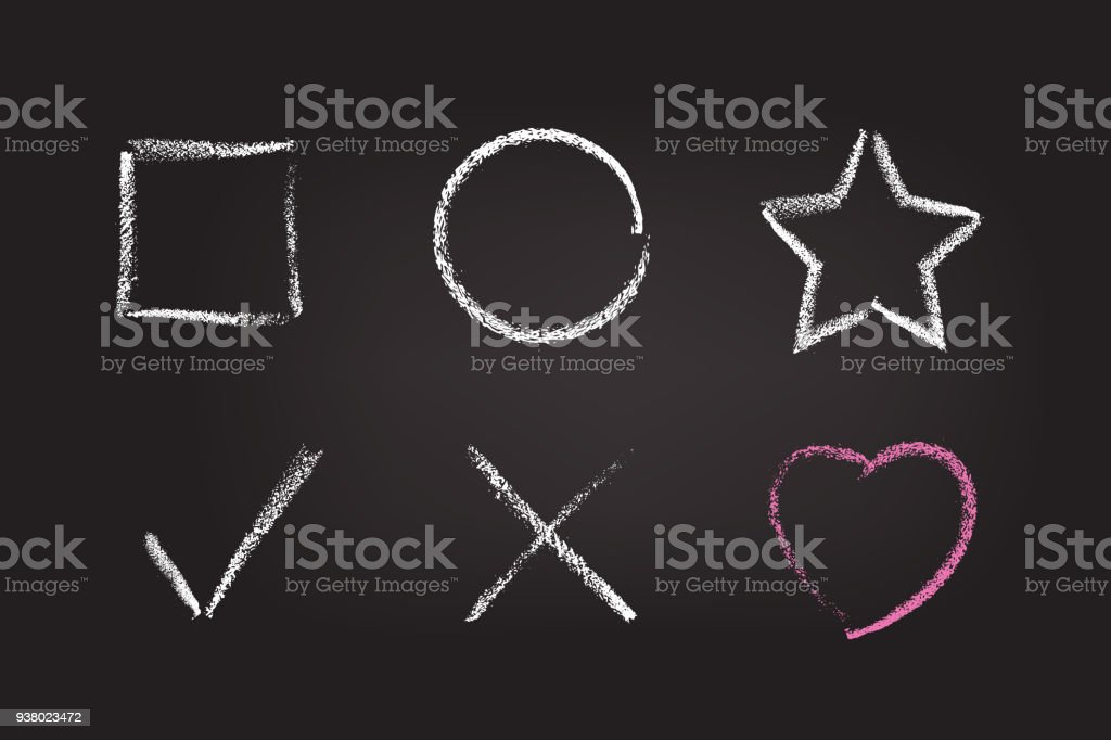 Chalk figure set on black school board. Vector chalk hand drawn design elements: square, circle, star, check mark, cross and heart. royalty-free chalk figure set on black school board vector chalk hand drawn design elements square circle star check mark cross and heart stock illustration - download image now