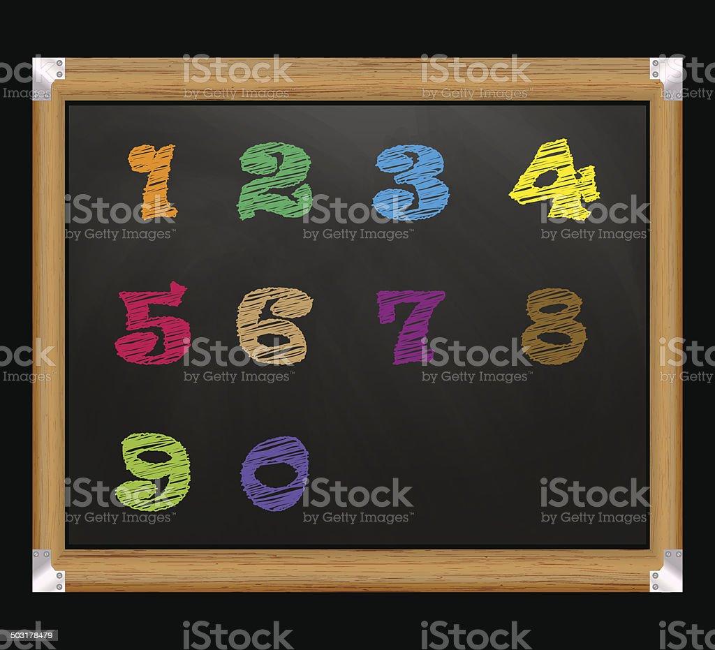 Chalk font on the school board. vector art illustration