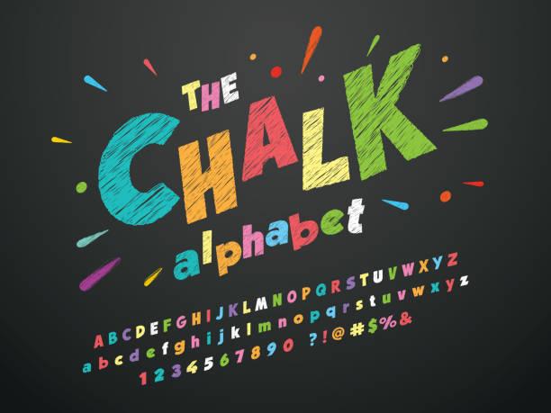 chalk font - классная доска stock illustrations