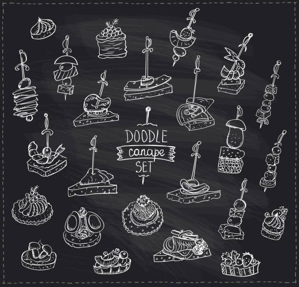 illustrations, cliparts, dessins animés et icônes de craie doodle graphique illustration avec les canapés et les sandwiches - entrée