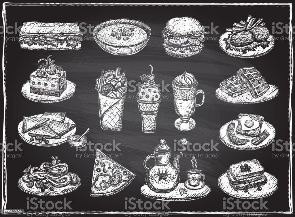 Chalk graphic illustration of assorted food vector art illustration