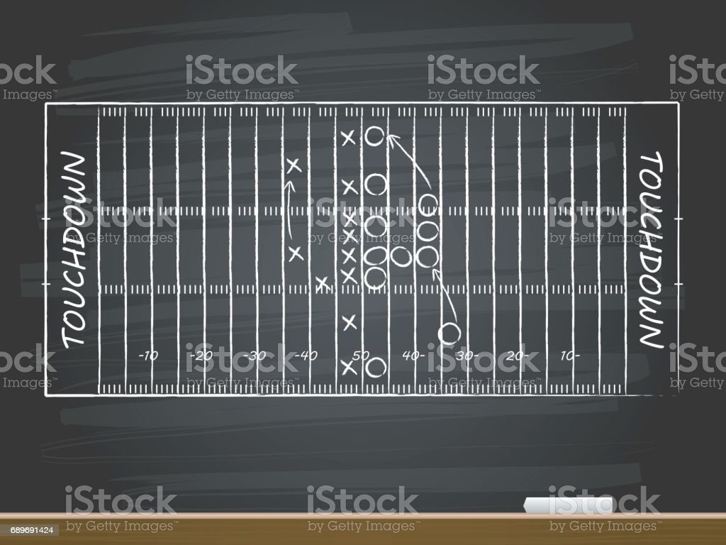 Chalk hand drawing with american football field. Vector illustration. векторная иллюстрация