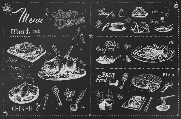 ilustrações de stock, clip art, desenhos animados e ícones de chalk hand drawn dishes for menu design. sketches of meat, spices, chicken and fish, pizza, sushi white icons on black board. vector hipster poster - meat plate