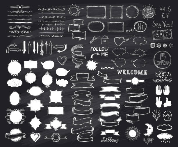 chalk hand drawn sketch elements on chalkboard, vector  illustration - tablica stock illustrations