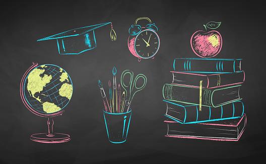 Chalk illustrations of education items