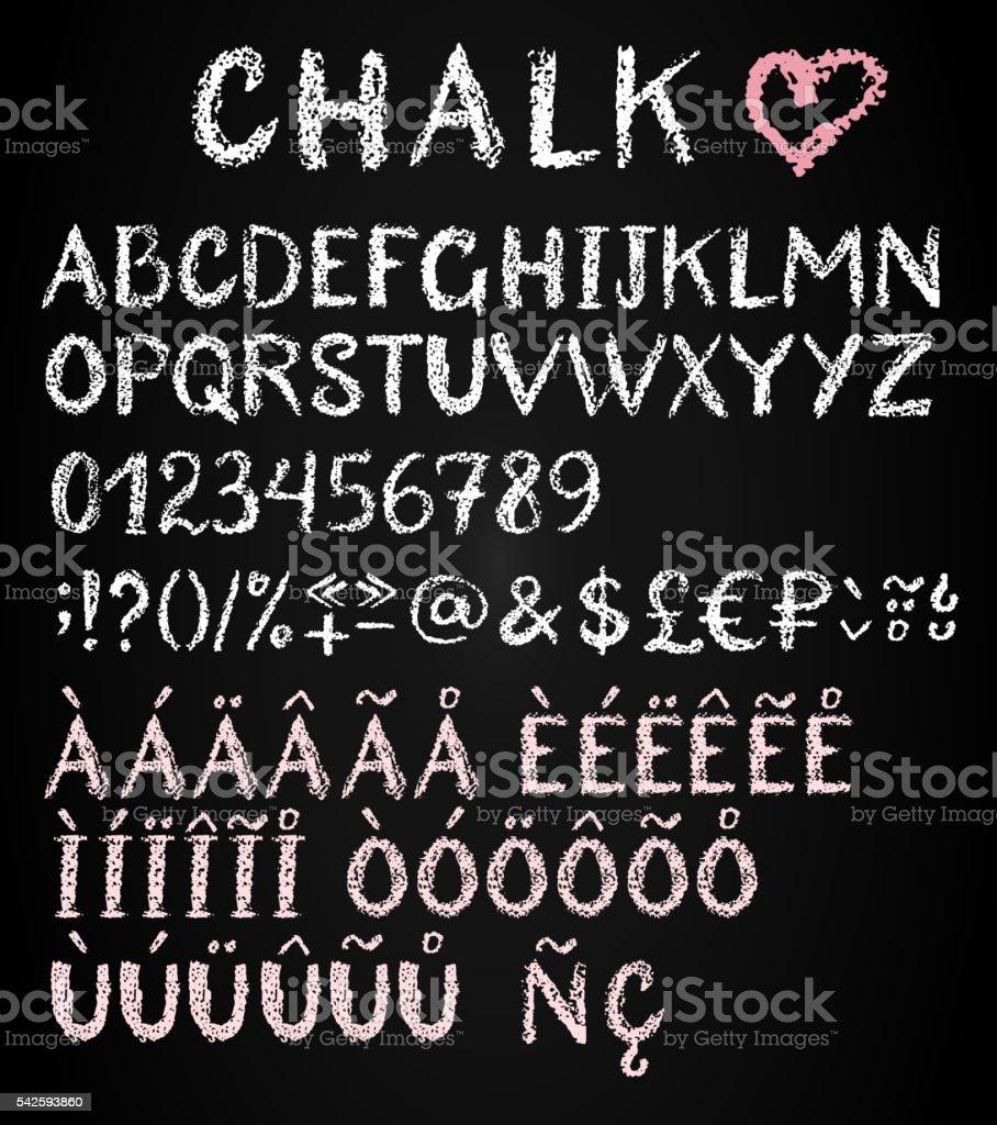 Chalk latin multilingual alphabet. vector art illustration
