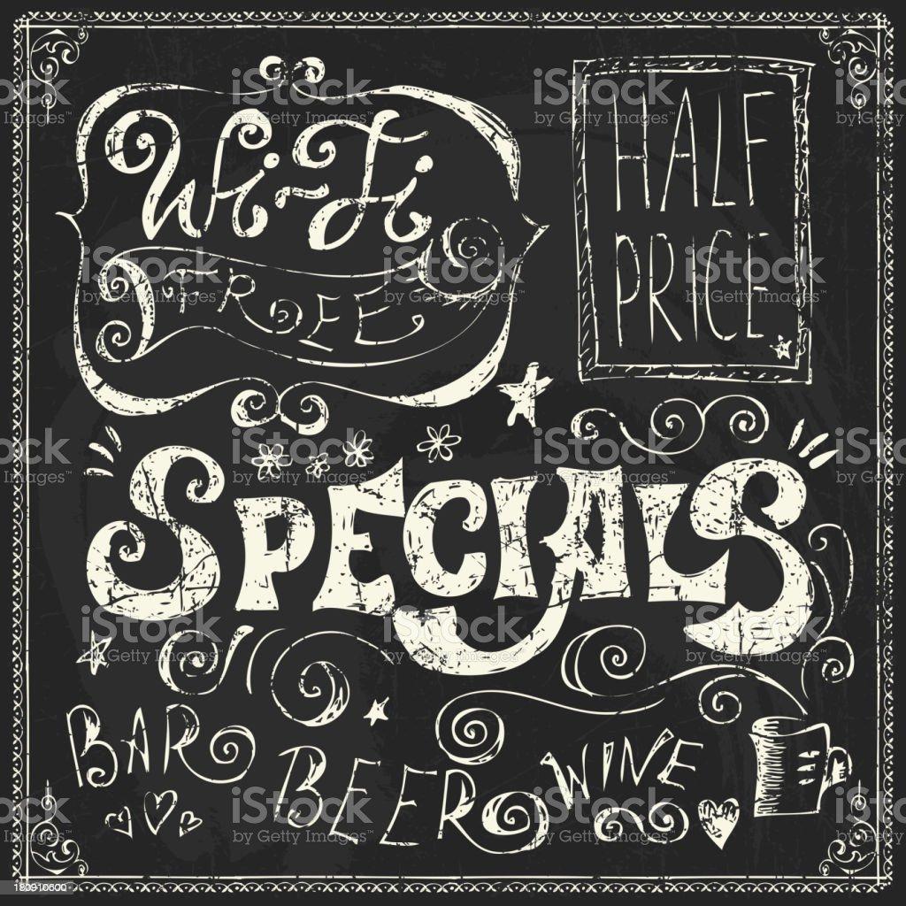 1809 Menu chalk lettering bar menu stock illustration - download image now