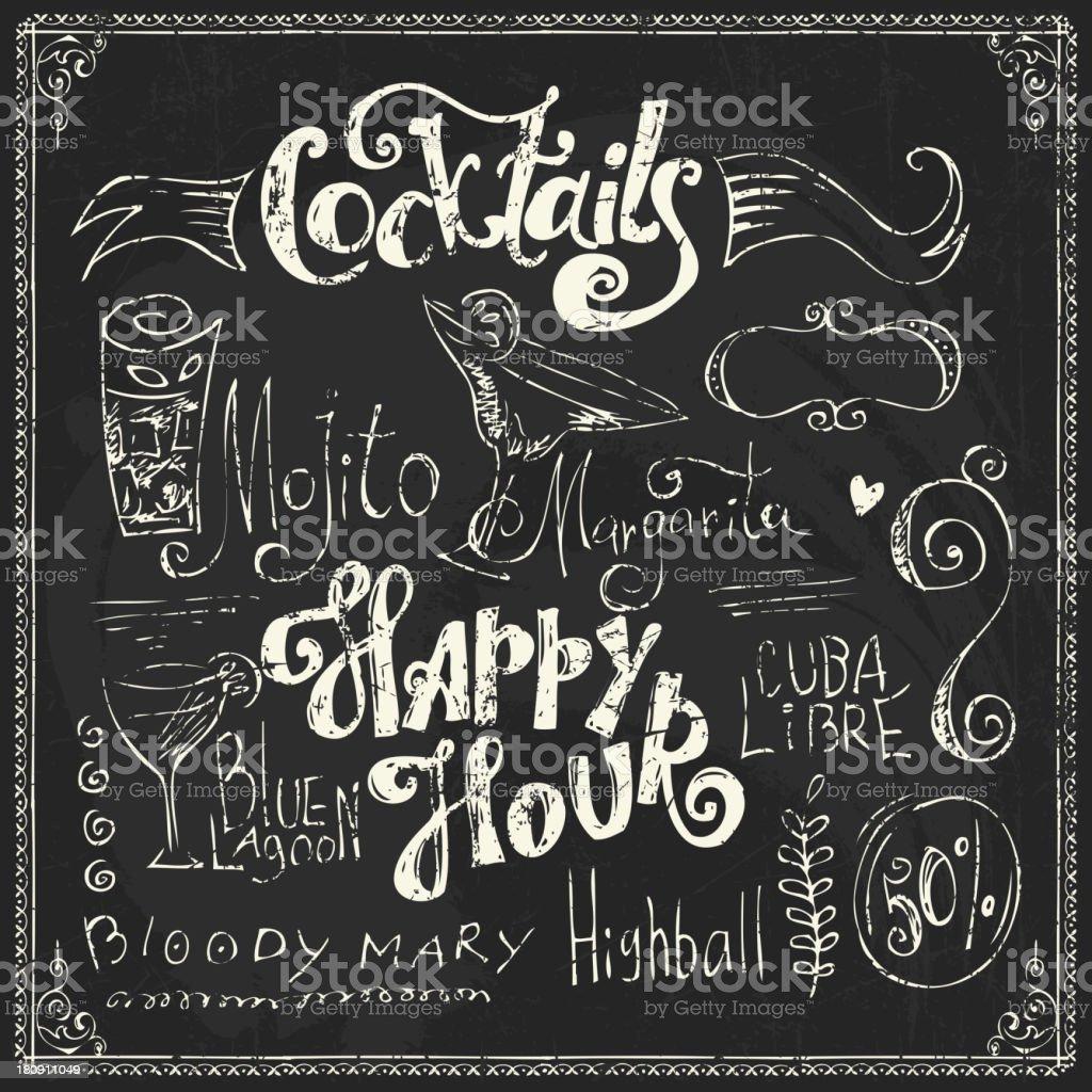 Chalk lettering. Cocktails doodles vector art illustration