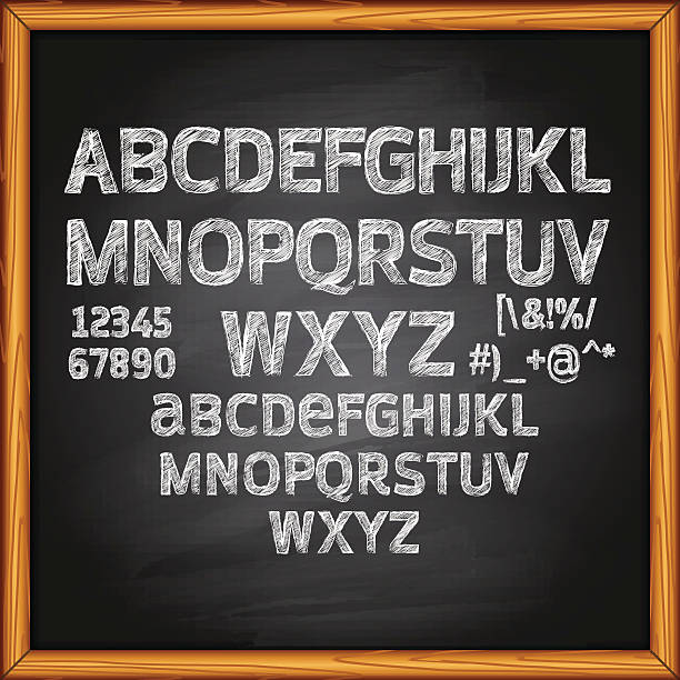 chalk lettering on blackboard - tafelkreide stock-grafiken, -clipart, -cartoons und -symbole
