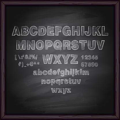 Chalk Letters on Blackboard