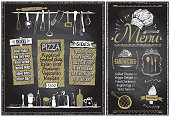 Chalk menu boards with kitchenware, hand drawn graphic illustration. Pizza, snacks, sides, sandwiches and ice-cream menu concept