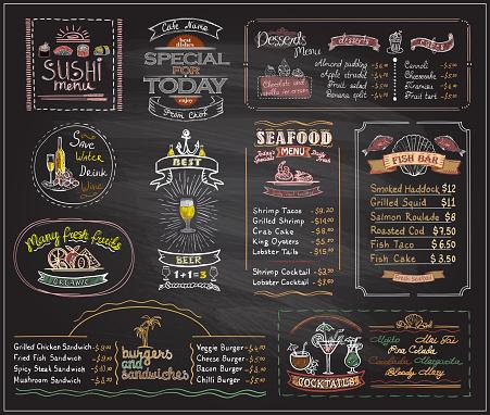 Chalk menu list blackboard designs set for cafe or restaurant