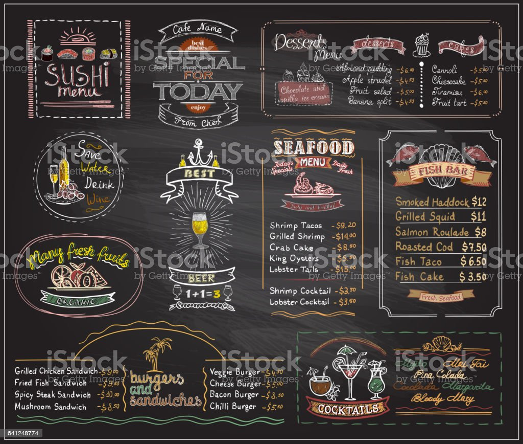 Chalk menu list blackboard designs set for cafe or restaurant vector art illustration