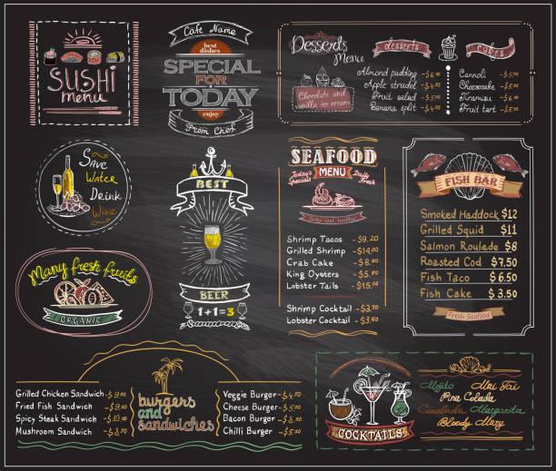 ilustrações, clipart, desenhos animados e ícones de desenhos de lousa lista menu conjunto para café ou restaurante do giz - restaurante