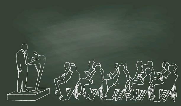 ilustrações, clipart, desenhos animados e ícones de giz intervenção público - político