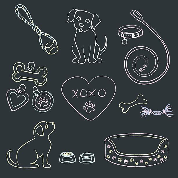 kreide-klößchen und speisen - hundebetten stock-grafiken, -clipart, -cartoons und -symbole