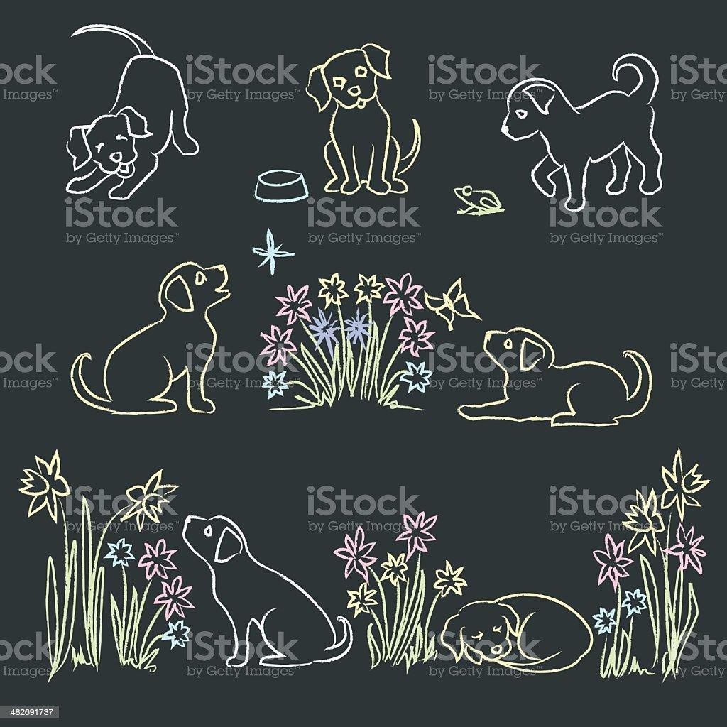 Chalk Puppies royalty-free stock vector art