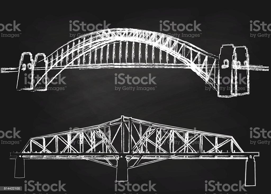 Giz ponte de Sidney - ilustração de arte em vetor