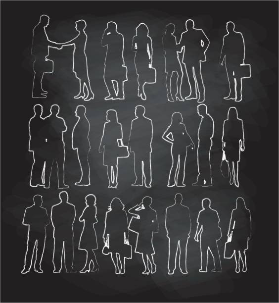 Chalk Silhouette Collection vector art illustration
