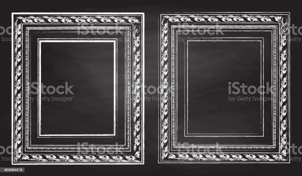Kreide Skizze Antiquität, Piktogramm Frames – Vektorgrafik