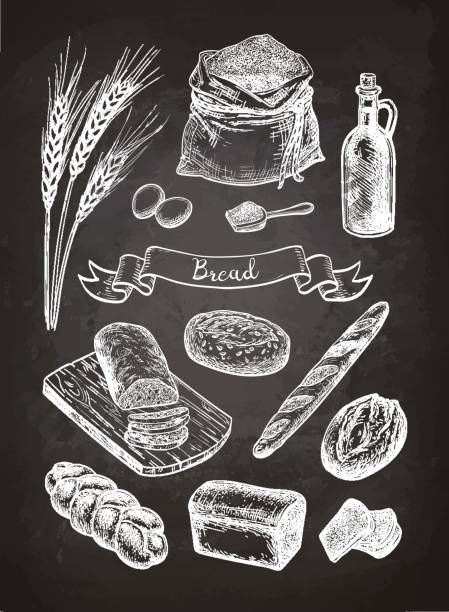 kreide-skizze von brot. - brotzopf stock-grafiken, -clipart, -cartoons und -symbole