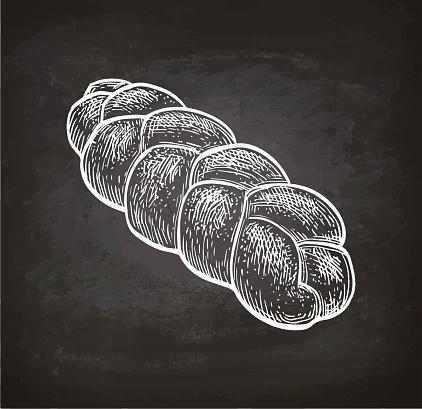 Chalk sketch of challah bread.