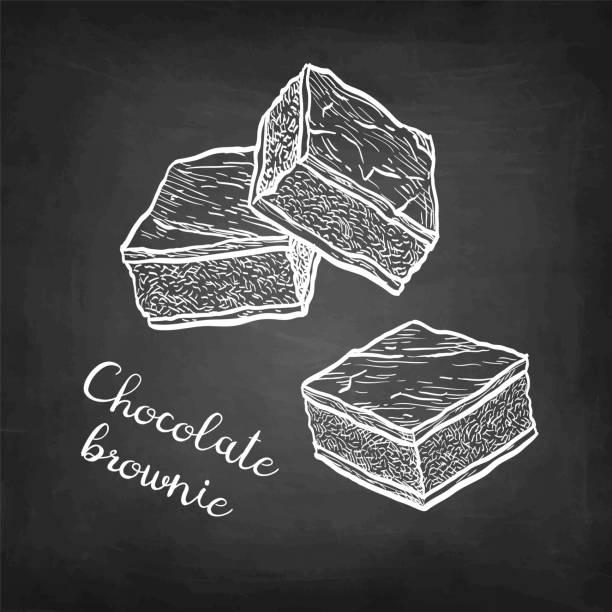 bildbanksillustrationer, clip art samt tecknat material och ikoner med krita skiss av choklad brownie. - brownie