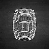 Chalk sketch of wooden barrel.