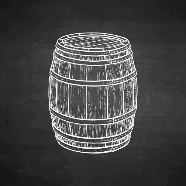 Chalk sketch of wooden barrel. vector art illustration