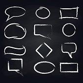 Chalk speech frames on blackboard background