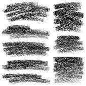Set of texture crayon strokes. Grunge text boxes. Hand draw vector design elements. Isolated texture backgrounds black on white.