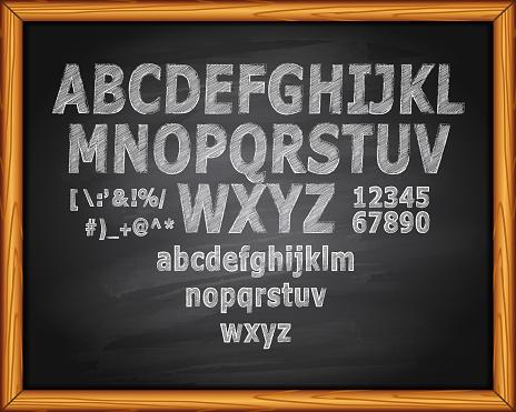 Chalk Text on Blackboard Editable Stroke