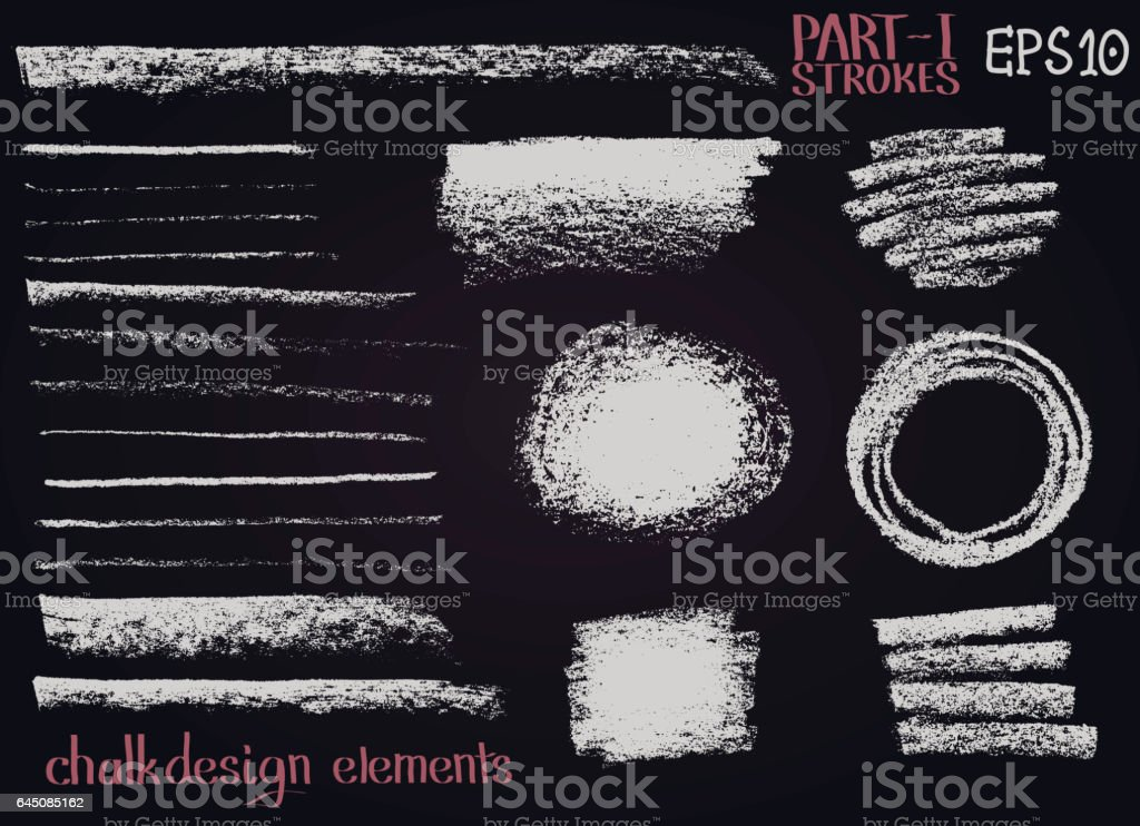 Chalk texture design elements Lines, stripes, strokes, round and rectangle shapes, frames on black board. vector art illustration