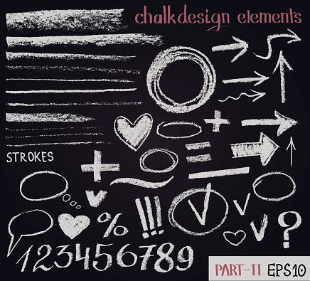 Chalk texture design elements. Set of chalk figures, arrows, strokes, lines, stripes, strokes, round frames on black board. Hand drawn sketch.