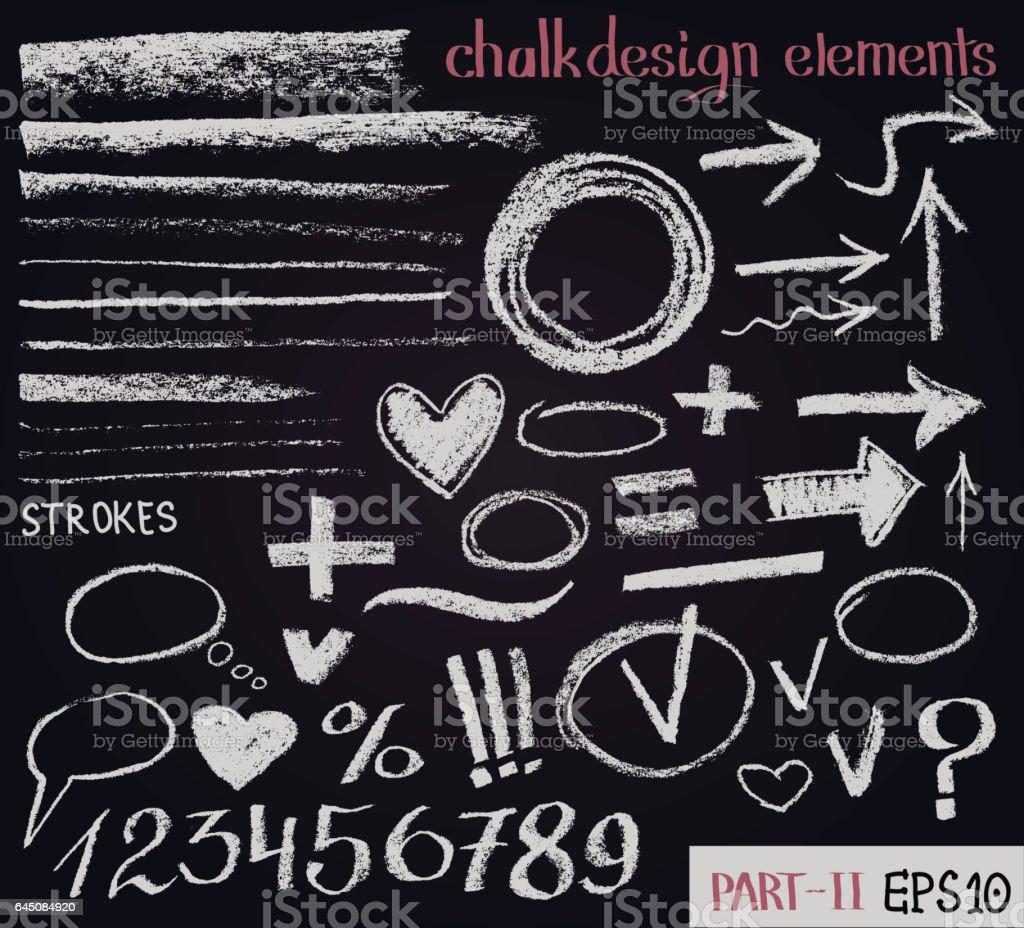 Chalk texture design elements. Set of chalk figures, arrows, strokes, lines, stripes, strokes, round frames on black board. Hand drawn sketch. vector art illustration