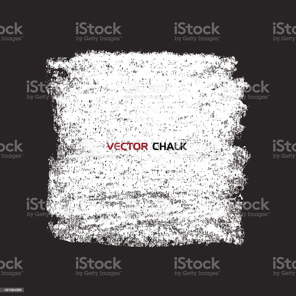 Chalk texture square banner on blackboard. vector art illustration