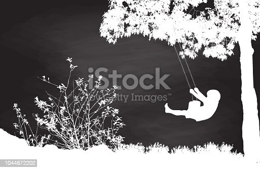 Chalkboard illustration of a kid swinging under a tree