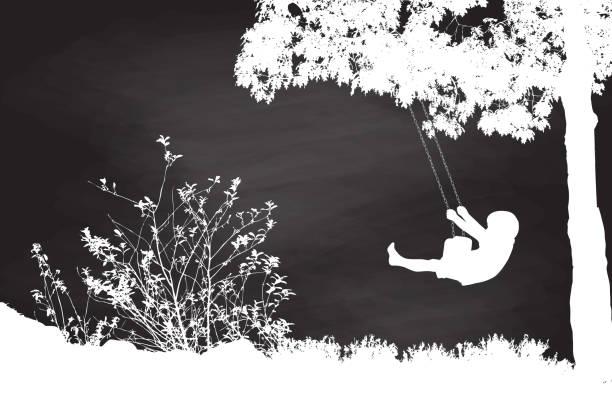 ilustrações de stock, clip art, desenhos animados e ícones de chalk tree swing - balouço