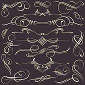 Calligraphical decorative elements and flourish on chalkboard.