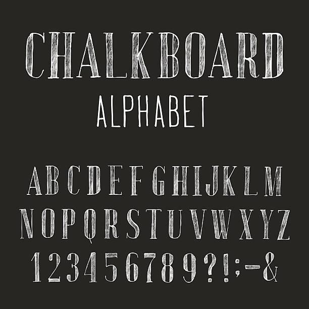 stockillustraties, clipart, cartoons en iconen met chalkboard alphabet vector font. - borden en symbolen
