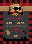 Vector illustration of a flannel and chalkboard Lumberjack party invitation design template. Design includes red and black color palette with wood and  chalk textures. Includes deer head, crossed axes, wood stump, silhouette of evergreen trees and cute mustache. Perfect for Canadian celebration, boys birthday party invitation, lumberjack, hipster or male party themes. Layers for easy editing. See my portfolio for similar files. Vertical composition.