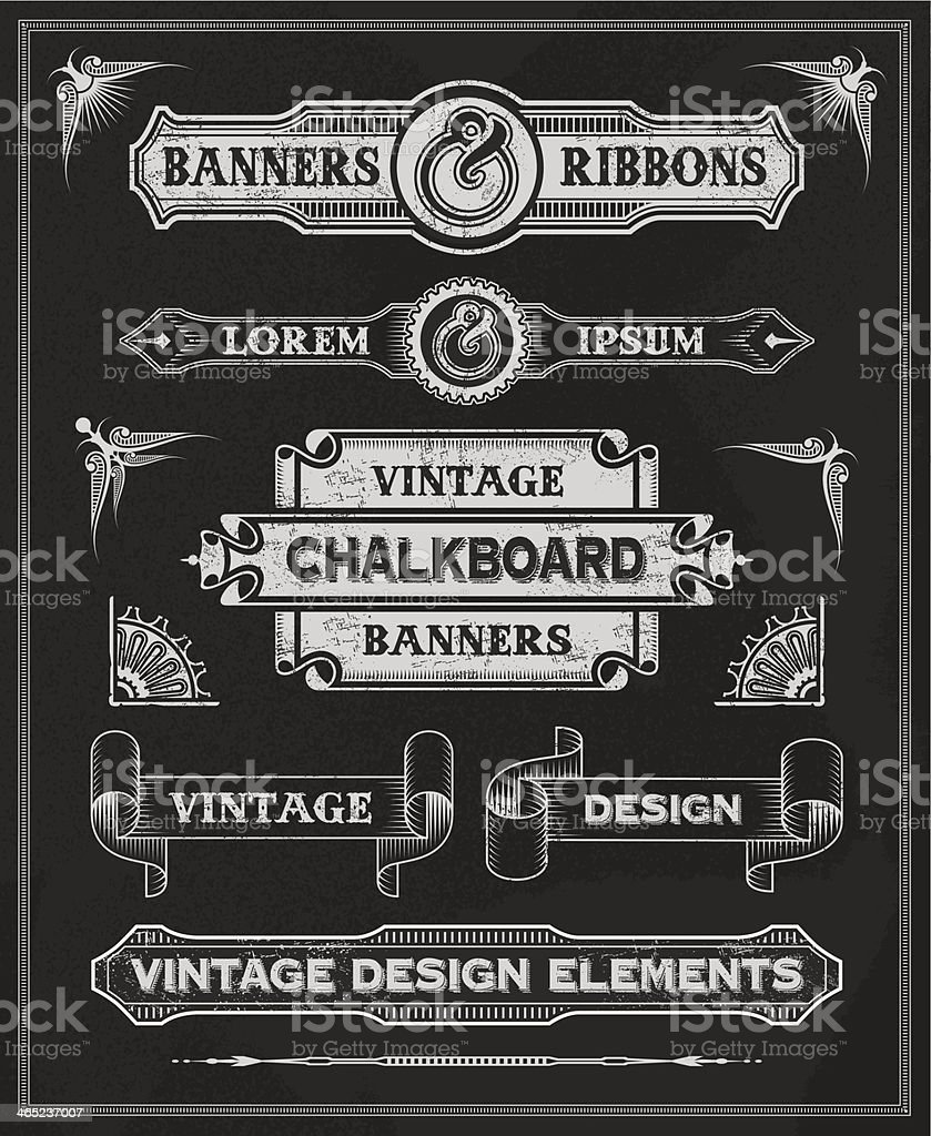 Chalkboard background with assorted text banners vector art illustration