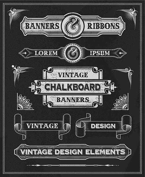 vintage etiketten, banner und band-design - steampunk stock-grafiken, -clipart, -cartoons und -symbole