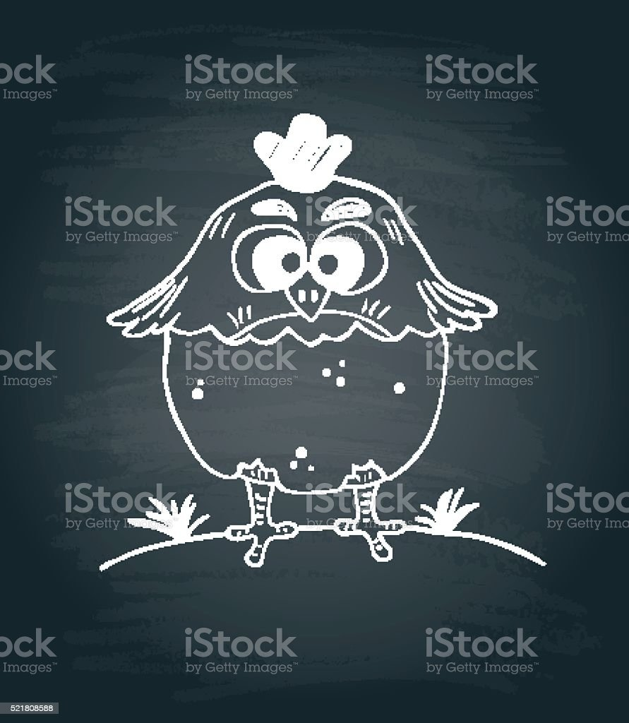 Chalkboard background with funny chicken vector art illustration