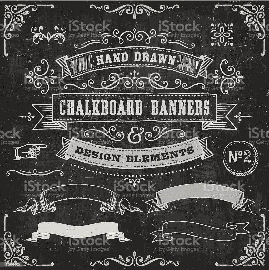 Chalkboard Banners and Design Elements vector art illustration
