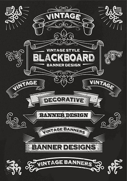 Chalkboard Banners and Frames - Design Elements vector art illustration