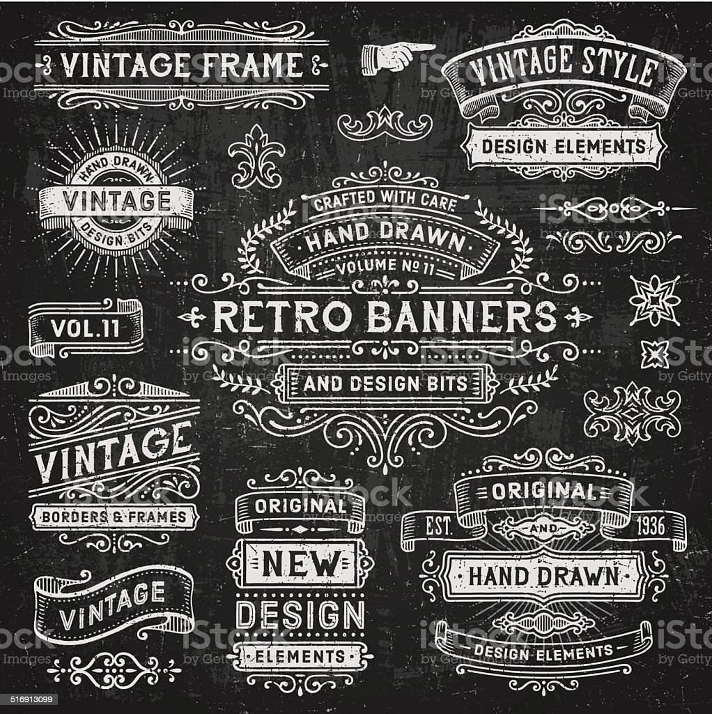 Chalkboard Banners and Frames vector art illustration