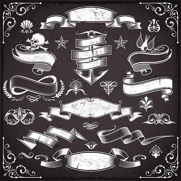 ilustraciones, imágenes clip art, dibujos animados e iconos de stock de chalkboard banners - tatuajes náuticos