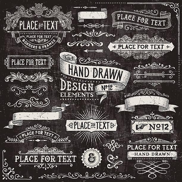 黒板のバナーやバッジおよびフレーム - グランジフレーム点のイラスト素材/クリップアート素材/マンガ素材/アイコン素材
